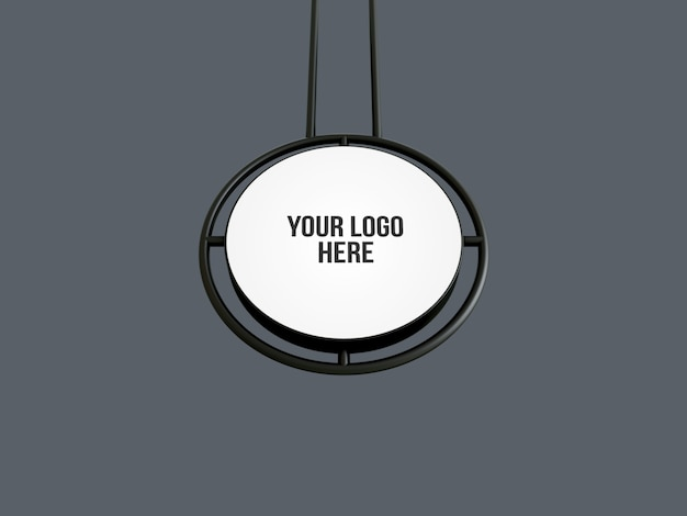 Round hanging sign wall mockup isolated