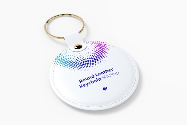 Round leather keychain mockup