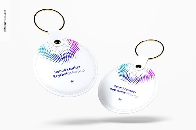 Round leather keychains mockup floating