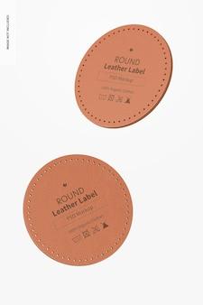 Mockup di etichetta rotonda in pelle, fluttuante