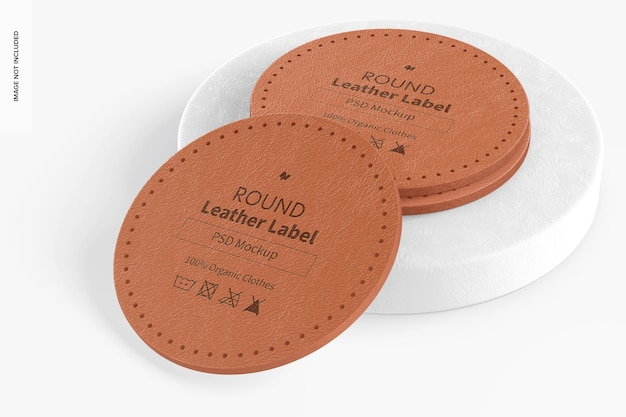 Etichetta rotonda in pelle sul mockup del podio