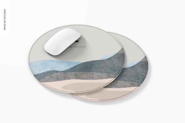 Мокап круглых кожаных ковриков для мыши