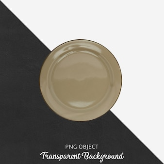 Round light brown plate on transparent background