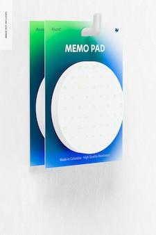 Round memo pads mockup, hanging