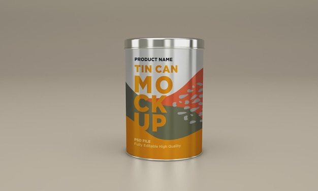 Round metal food tin packaging mockup