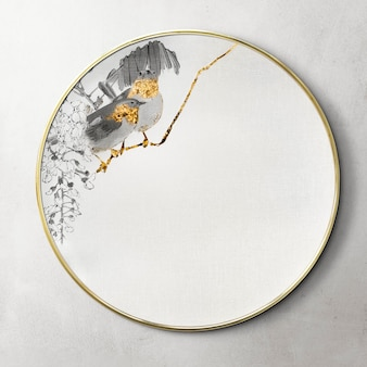Round mirror decorated with an artwork mockup