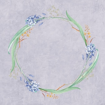 Round mixed flowers frame patterned mockup