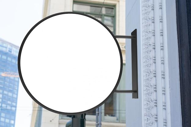 Round modern white company street logo sign mockup