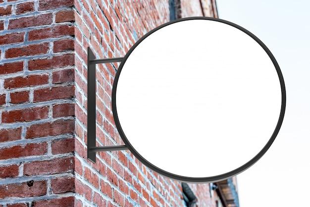 Round modern white store street logo sign mockup