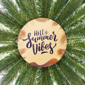 Round paper mockup on summer leaves background