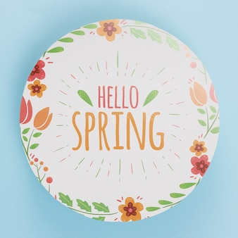 Round paper template with flowers for spring