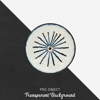 Round patterned serving plate on transparent background