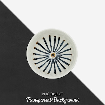 Round patterned soup plate top view on transparent background