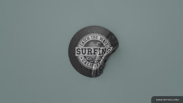Round peeled sticker mockup