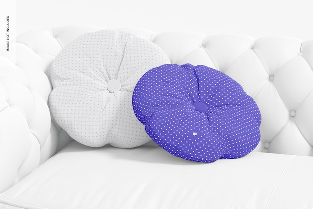 Round pillows with button mockup