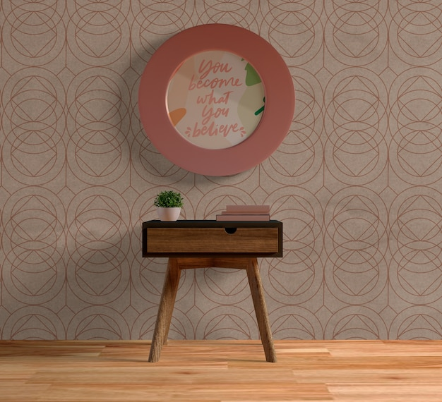 Round pink frame mock-up on the wall