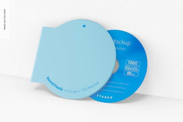 원형 플라스틱 cd 케이스 모형, 기대어