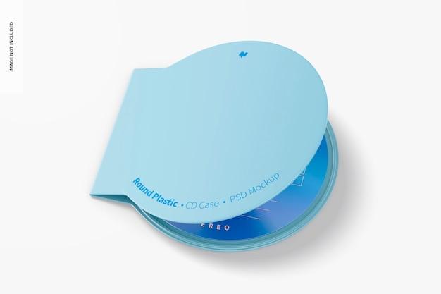 Mockup di custodia per cd in plastica rotonda