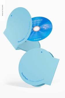 丸いプラスチックcdケースのモックアップ、フローティング