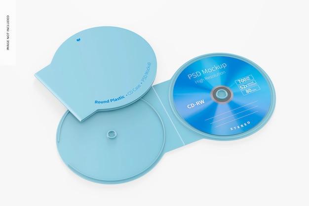 Mockup di custodie per cd rotonde in plastica, aperte e chiuse