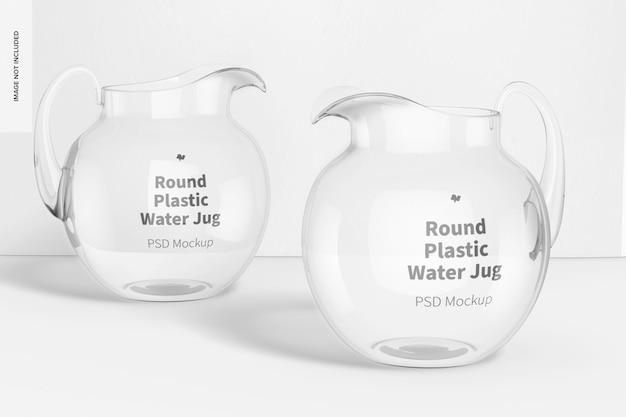 Mockup di brocche d'acqua rotonde in plastica, prospettiva
