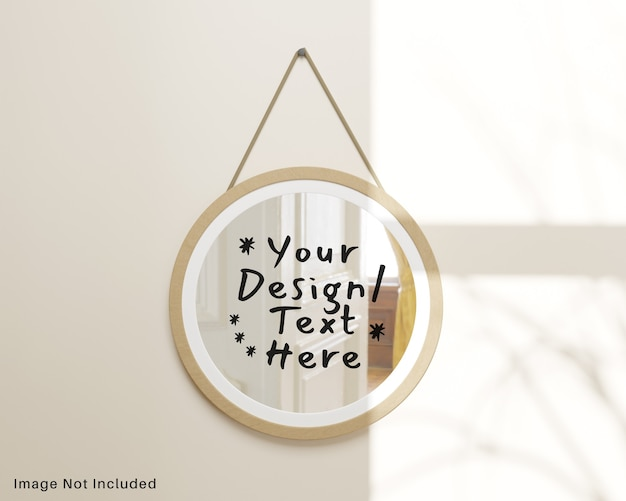 Round reflection wooden mirror hanging on wall mockup