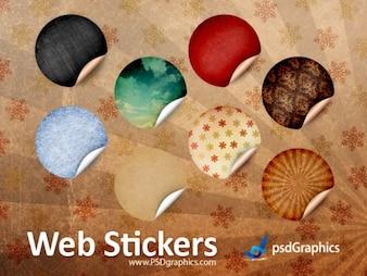 Round retro stickers, PSD template