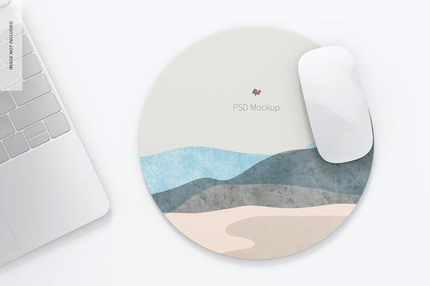 Мокап круглого силиконового коврика для мыши