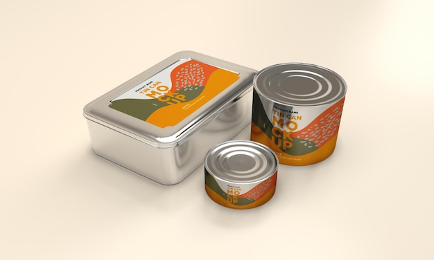 Round and square metal food tin packaging mockup