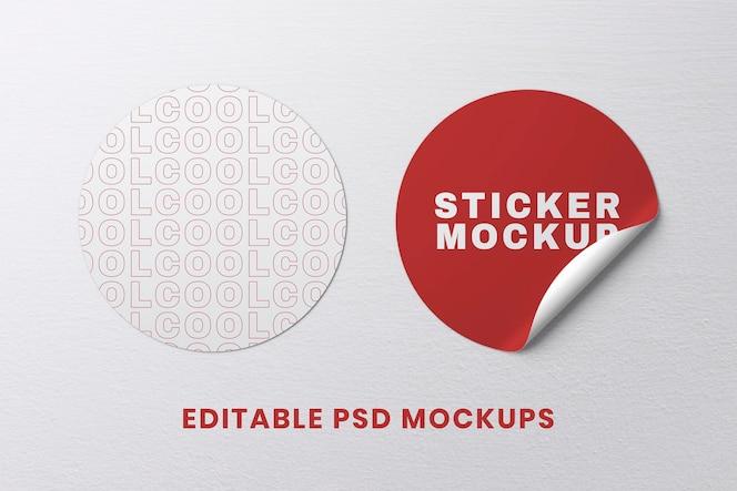 Mockup di design adesivo rotondo