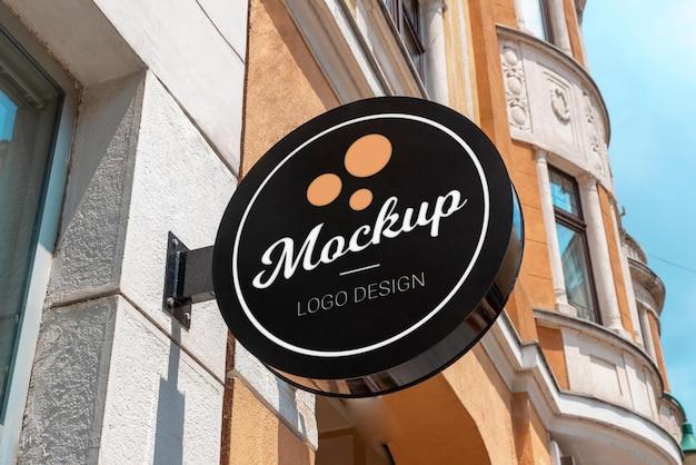 Макет логотипа круглого уличного знака
