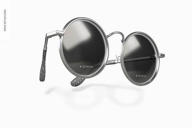 丸いサングラスのモックアップ、落下