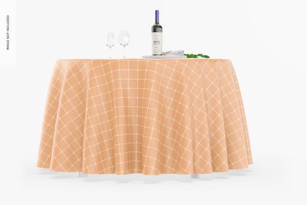 Круглая скатерть с макетом бутылки вина