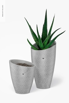 Round tall cement pots mockup, front view