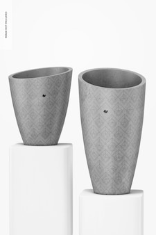 Round tall cement pots mockup, perspective