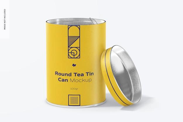 Мокап круглой банки с чаем, открыт