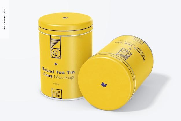 Round tea tin cans mockup