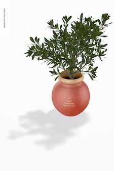 Мокап круглой терракотовой вазы