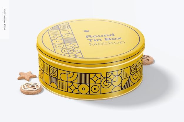 Round tin box mockup, front view