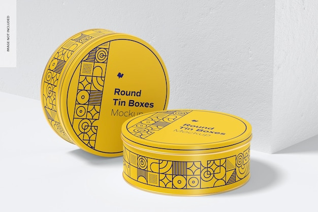 Мокап круглой жестяной коробки, вид справа