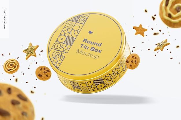 Round tin box mockup with cookies