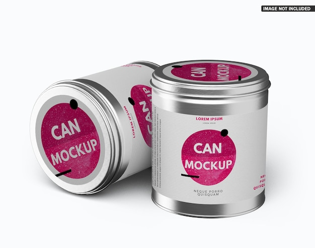 Round tin can mockup design