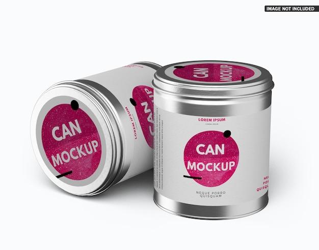 Round tin can mockup design