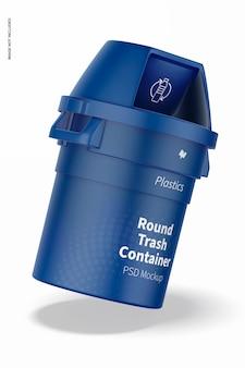 Mockup di contenitore della spazzatura rotondo, appoggiato