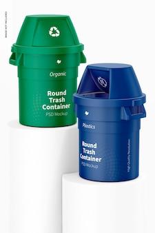 Мокап круглого мусорного контейнера на подиуме
