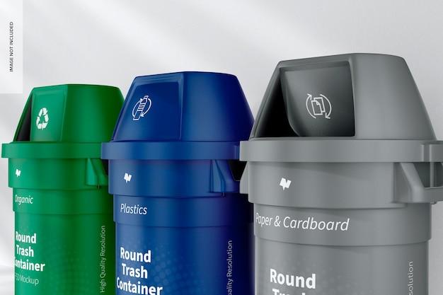 Mockup di contenitori per rifiuti rotondi, vista a destra