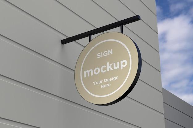 Круглый настенный знак фасадная доска макет