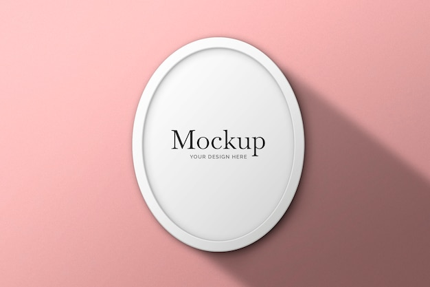 Round white frame on pink background mockup