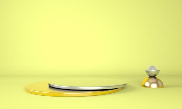 라운드 노란색 연단 3d 렌더링
