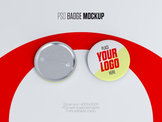 Rounded badge or button pin mockup